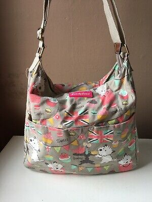 SWANKY SWANS Ladies Dogs Cupcakes Multicoloured Canvas Messenger Bag • 10£