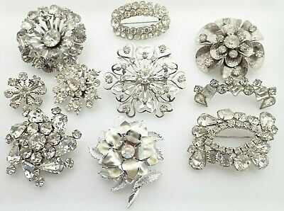 $ CDN82.05 • Buy Vintage Lot Of Clear Rhinestone Jewelry Dimensional Brooches Pins