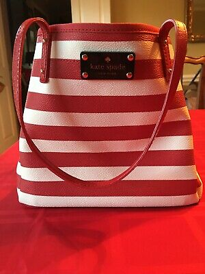 $57 • Buy Authentic Kate Spade Kennywood Sydney Striped Tote Bag Purse - Red/bone/cream