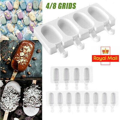 4/8 Cavity Silicone Frozen Ice Cream Mold Juice Popsicle Maker Ice Lolly Mould  • 4.89£