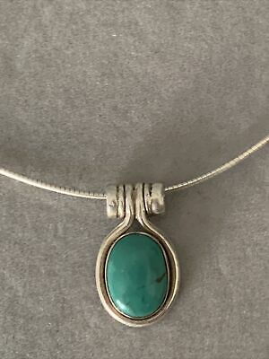 Vintage 925 Silver Malachite Pendant And 16 Inch Omega Chain • 11.99£