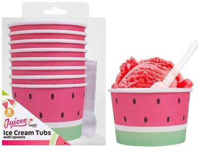 Pack Of 8 Watermelon Paper Ice Cream Tubs Sweet Treat Pudding Bowls With Spoons • 4.35£