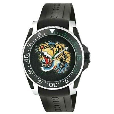 AU1099.95 • Buy NEW Genuine GUCCI Dive 40mm Black Rubber Strap Tiger Men Designer Watch YA136318