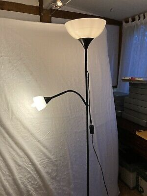 Tall Floor Standing Reading Lamp And Uplight In Black Metal. • 10£