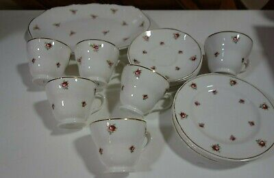 Mayfair Fine BoneChina England Scattered Pink Roses Tea Cups & Saucers Set Of 6  • 45£
