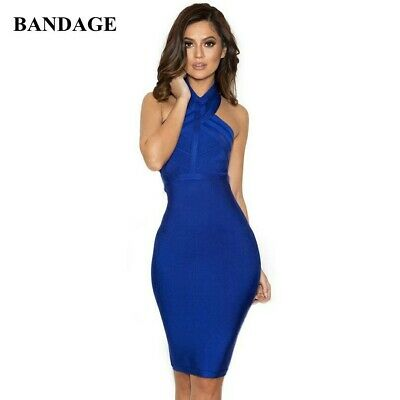 Womens Celeb Boutique Blue Bandage Bodycon Knee Length Party,cocktail Dress • 23£