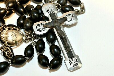 Stations Of The Cross Large Vintage Black Silver Religious Medal Crucifix Markt • 16.18£