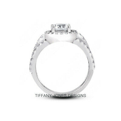 AU4362.76 • Buy 1 1/2ct G SI1 Round Earth Mined Certified Diamonds 950 PL. Halo Side-Stone Ring