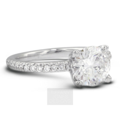 AU4377.54 • Buy 1 1/2ct D SI2 Round Natural Certified Diamonds 950 PL. Classic Sidestone Ring