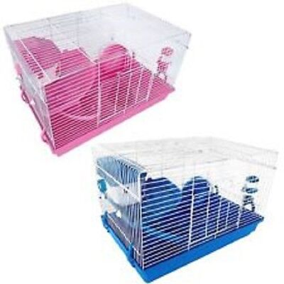 Deluxe Hamster Cage 2 Tier With House Wheel Slide Dish Bottle  Pink Or Blue  New • 21.99£