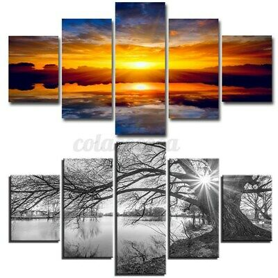 UK 5-Panels Unframed Modern Canvas Art Oil Painting Picture Wall Hanging  • 9.89£
