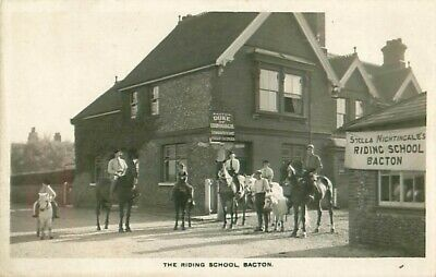 R/p The Riding School Bacton Norfolk  Real Photo Horses Public House  • 20£