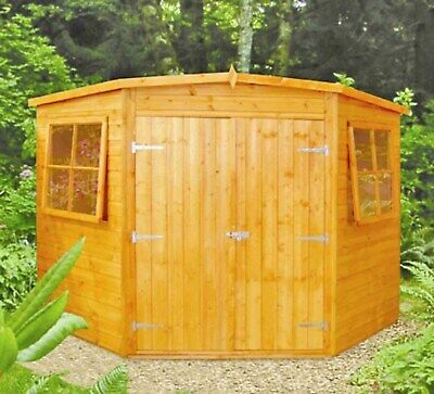 8x8 Shiplap Timber Double Door Corner Shed A • 810£