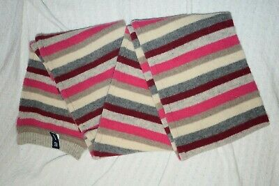 £5.99 • Buy Gap Scarf Lambswool Pure New Wool Multi Pink Shades & Ivory
