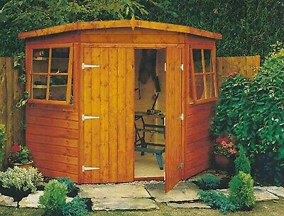 7x7 Shiplap Timber Double Door Corner Shed A • 690£