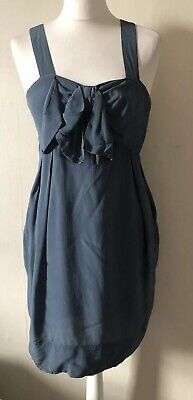 Topshop 100% Silk Blue Strappy Mini Dress Size 10 Bow Pockets Party Summer • 4.99£