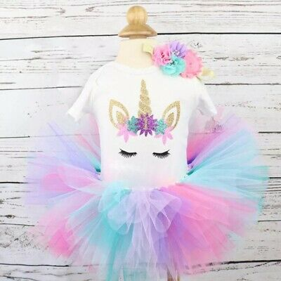 AU28.60 • Buy First Birthday Outfit Girl Unicorn Cake Smash Outfit,first Birthday Baby Outfit