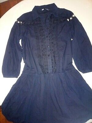 Black Dress ZARA Size Small Emmbroided Lace Knee Lenght Pregnancy • 2.99£