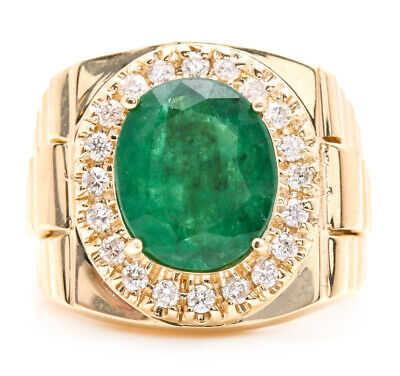 $2790 • Buy 5.70Ct Natural Emerald And Diamond 18K Solid Yellow Gold Men's Ring