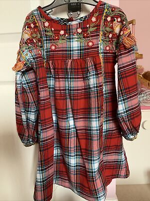 Next Tartan Checked Embroidered Long Sleeve Dress Age 3-4 Years • 3.50£