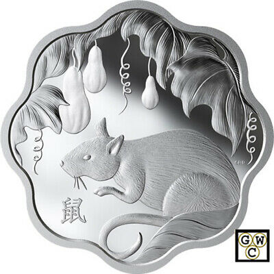 $ CDN112.05 • Buy 2020'Year Of The Rat'(Lunar Lotus-Scallop Shaped) Prf $15 Fine Silver Coin(18809