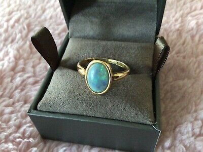 Antique 18ct Gold Opal Ring Size L 1/2 • 225£