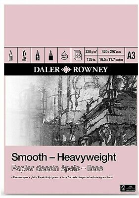 Daler Rowney A3 Heavy Weight Cartridge Paper Pad 220gsm 25 Sheets • 16.89£