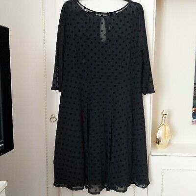 M&Co Swing Style Black Spotted Chiffon Dress Netted Skirt Size 20 UK • 12.99£