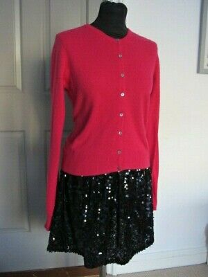 M&S Limited Collection 100% Pure Cashmere Crewe Neck  Pink Cardigan  UK 10 / 12 • 9.99£