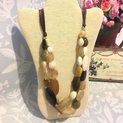 Necklace Large Beaded Natural Tones Statement Ribbon Tie Spring Summer • 5£