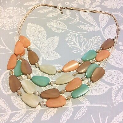 Necklace Beaded Spring Summer Tones Long Length • 5£