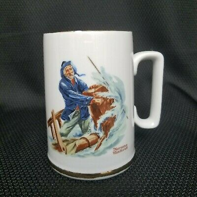 $ CDN9.54 • Buy Norman Rockwell BRAVING THE STORM Museum Coffee Mug Cup White Gold Trim 1985