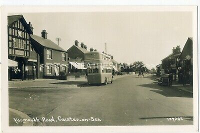 RP CAISTER-on-SEA Yarmouth Road MOTOR BUS By Bells' <RAC> GARAGE 1950's NORFOLK • 22£