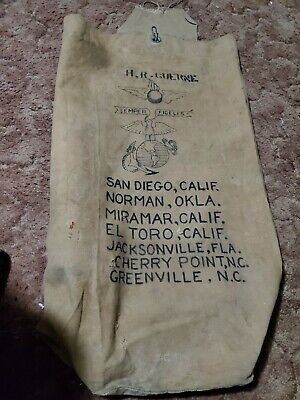 $80 • Buy Original US Marine Corps Painted SEA BAG USMC Air Ordnance WW2 WWII Nose Art