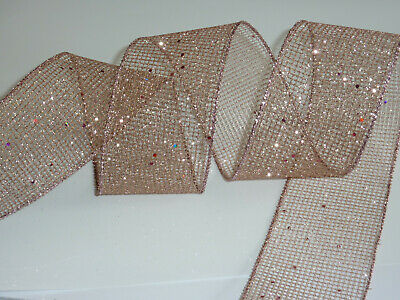 Rose Gold Pink Mesh Glitter Wire Edged Ribbon 63mm Wide X 1 M • 2£