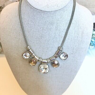 Necklace Silver Tone M&S Spring Summer Glass Stones • 5£