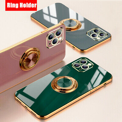 AU13.21 • Buy Luxury Plating Silicone Case IPhone 12 Pro Max 11 Pro Max With Ring Holder Stand