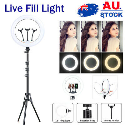 AU59.99 • Buy 18  LED Ring Light Dimmable Lighting Phone Selfie Tripod Stand Makeup Live Lamp