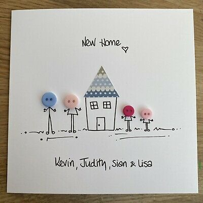 Handmade Button NEW HOME Card  People  - Can Be Personalised • 2.99£