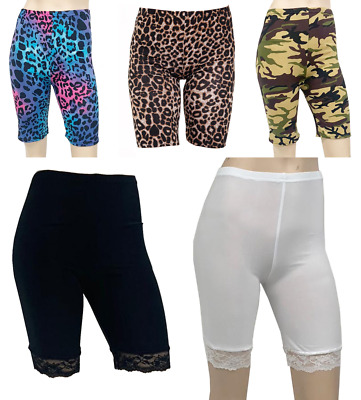 New Women's Reg Plus Size  Lace Printed Leopard Camo Rainbow Gym Cycling Shorts • 4.95£