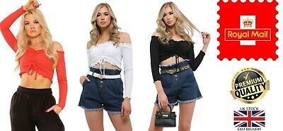 New Women's UK Made Long Sleeve Ruched Frill Ribbed Bardot Tie Front Crop Top • 8.95£