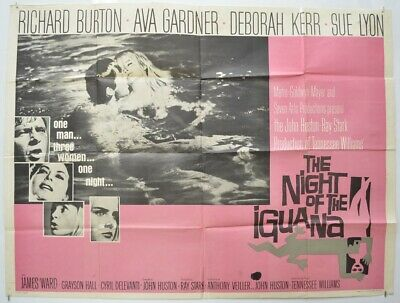 THE NIGHT OF THE IGUANA (1964) Quad Cinema Poster - Richard Burton, Ava Gardner • 115£