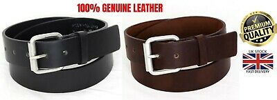 £5.95 • Buy New Mens 100% Genuine Leather Black Brown Jeans Trousers Big Size Buckle Belt