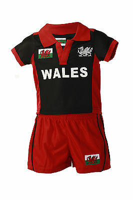 £12.99 • Buy New Childrens Wales Welsh Rugby Football Supporter 'cool Kit' Shirt & Shorts Set