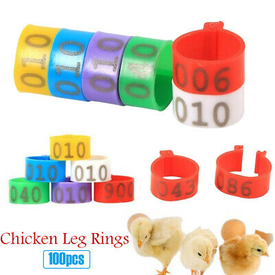 100X 16MM 001-100 Numbered Plastic Poultry Goose Chicken Ducks Leg Bands Rings' • 4.70£