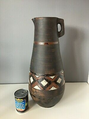 Large West German Style Unmarked Floor Jug - 49cm Tall - Good Condition • 50£