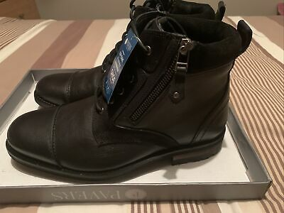 Pavers Mens Leather Boots Size 6/40 Black BNIB With Side Zip • 39.99£