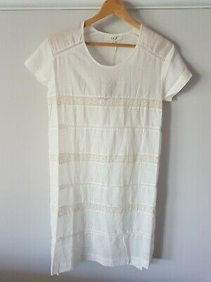 AU80 • Buy Edit By Lee Mathews Linen With Lace Tee Dress Natural Size 0