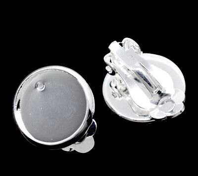 £2.95 • Buy ❤ 10 X Silver Plated Cabochon Setting Fits 12mm Flatback CLIP ON Earring Blank ❤