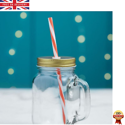 Mason Glasses Drinking Jars With Handles And Lids Set Of 4 Dishwasher Safe 450ml • 16.99£